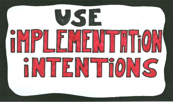 Implementations intentions - example, definition + show the strong effects of simple plans