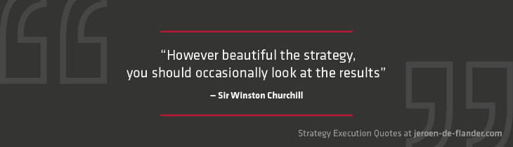 Strategy execution quotes - However beautiful the strategy, you should occasionally look at the results - Sir Winston Churchill