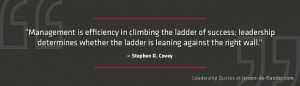 Leadership Quotes - Management is efficiency in climbing the ladder of success; leadership determines whether the ladder is leaning against the right wall - Stephen R. Covey